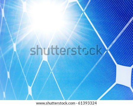 Photovoltaic solar panel against bright sunshine