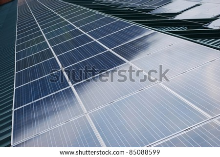 Photovoltaic solar panels on the roof for ecologic energy