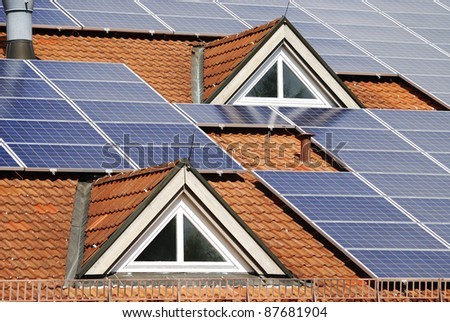Photovoltaic system on the roof of a house
