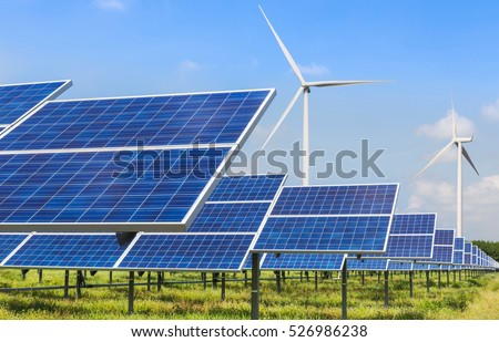photovoltaics solar panels and wind turbines generating electricity in solar power station alternative energy from nature