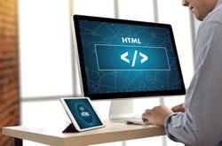 PHP HTML DEVELOPER Web Code design  Programmer working in a software in Development Programming Coding Cyberspace