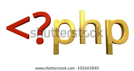 PHP Programming 3d letters, white background.