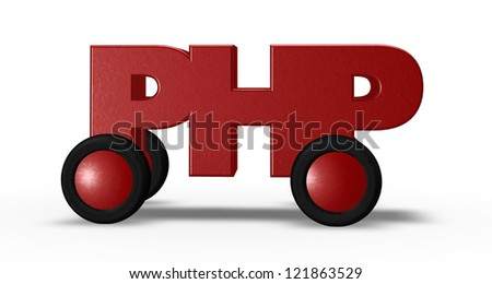 php tag on wheels - 3d illustration