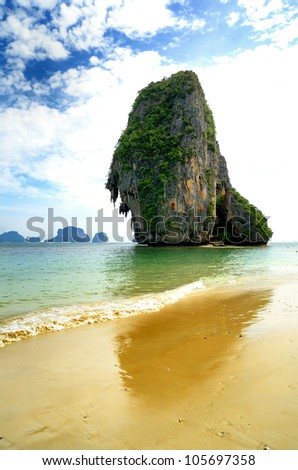 Phra-nang beach ; Krabi Thailand.