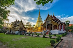 Phra Sing temple,landmark for tourist at Chiang Mai,Thailand.Most favorite landmark for travel Phra Sing temple at night scene.