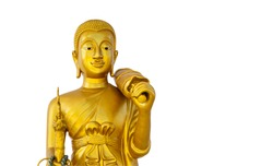 Phra Siwali is a Buddha image in Buddhism. The left-hand holds the umbrella, the right-hand holds the cane, Clipping path.