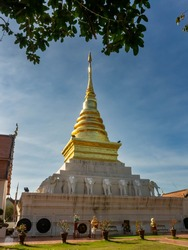 Phra That Chang Kham: The golden pagoda of Buddha's relics at Wat Phra That Chang Kham. A famous temple in northern Thailand. Tourist destination in Nan province.