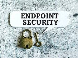 Phrase endpoint security written on bubble speech with key and lock.
