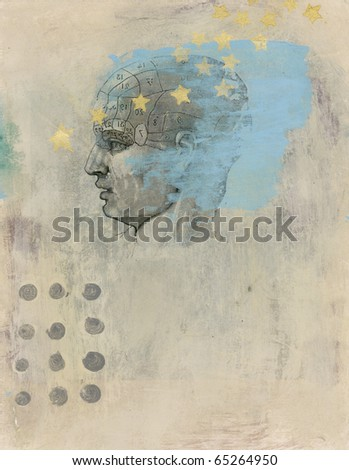 Phrenology head with stars. Acrylic and Gel medium transfer on paper mixed medium art.