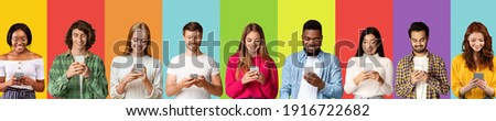 Phubbing and internet addiction concept. Collage with diverse young people stuck in cellphones, studying, working, browsing web or social media on colorful studio backgrounds, banner design