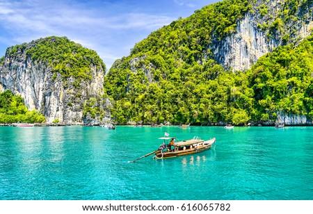 Phuket beach boat on Thailand landscape Stockfoto ©