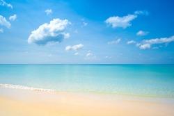 Phuket beach sea sand and sky. Landscape view of beach sea in summer day. Beach space area. At Karon Beach, Phuket, Thailand.