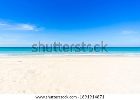 Phuket beach sea, View of beach sea on sun light in the summer. At Karon Beach, Phuket, Thailand. Nature and travel concept.