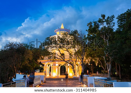 PHUKET, THAILAND - AUGUST 29 : The new building by The city hall in night time on the top of Kao Rung hill in down town on August 29, 2015 in Phuket, Thailand.