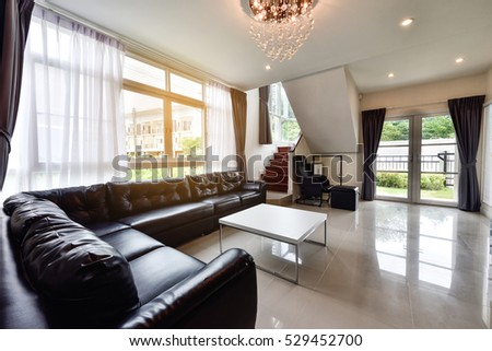 PHUKET, THAILAND - NOVEMBER 25 : Beautiful living room interior at the home for a new family on NOVEMBER 25, 2016, Thailand. #529452700