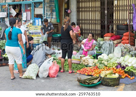 Phuket, Thailand-November 12th 2014: The morning market. The town has both an indoor and an outdoor market every morning.