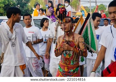 PHUKET, THAILAND - OCTOBER 1.2014: Worshiper at Procession at The Vegetarian Festival on October 1st 2014 in Phuket, Thailand