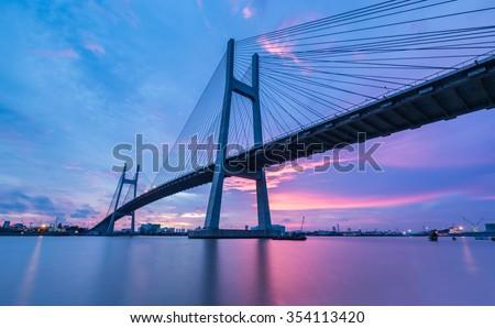 stock photo phumy bridge over sunset ho chi minh city vietnam 354113420 - Каталог — Фотообои «Мосты»