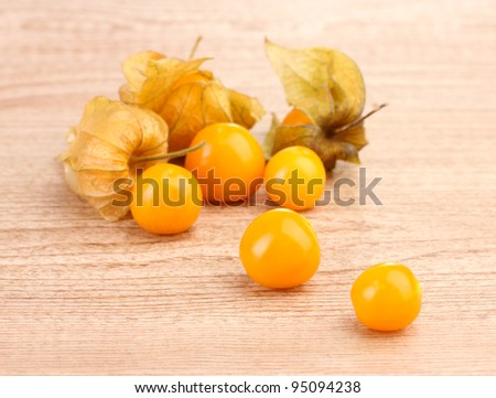 Physalis heap on wooden background