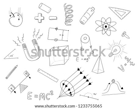physic doodle art on white with science object image sketch illustration