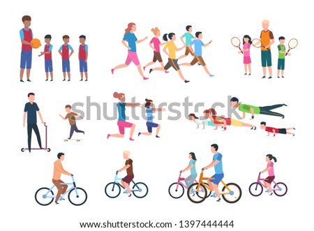 Physical activity. People flat fitness set with parents and children in sport activities. Isolated activity  illustration