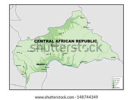 Physical map of Central African Republic