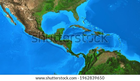 Physical map of Central America and the Caribbean. Detailed flat view of the Planet Earth and its landforms. 3D illustration - Elements of this image furnished by NASA Stock photo ©