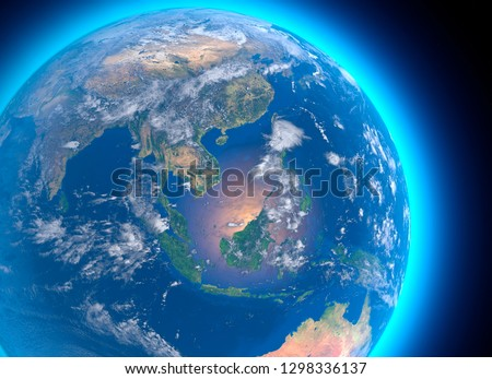 Physical map of the world, satellite view of  Southeast Asia, Indonesia. Globe. Hemisphere. Reliefs and oceans. 3d rendering. Element of this image are furnished by NASA