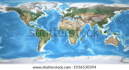 Physical map of the World, with high resolution details. Flattened satellite view of Planet Earth, its geography and topography. 3D illustration - Elements of this image furnished by NASA Stockfoto ©