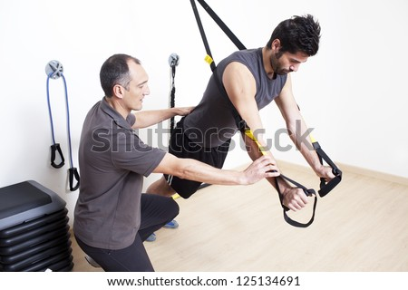 physical therapist working