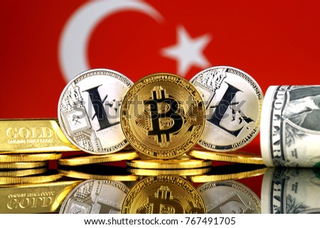 Physical version of Bitcoin, Litecoin, gold, US Dollar and Turkey Flag. Conceptual image for investors in cryptocurrency, gold and dollars.
