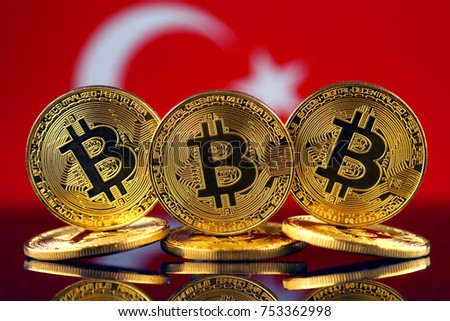 Physical version of Bitcoin (new virtual money) and Turkey Flag.