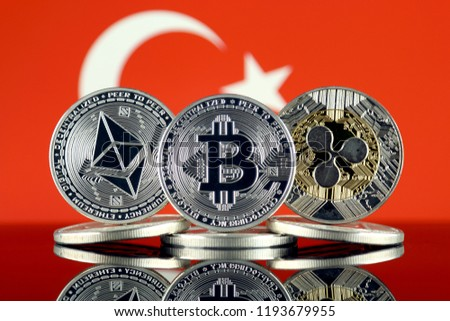 Physical version of Ethereum (ETH), Bitcoin (BTC), Ripple (XRP) and Turkey Flag. The Top 3 Cryptocurrencies by Market Cap.