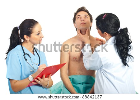 stock photo : Physician woman examine neck male patient checking for thyroid ...