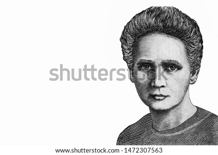 Physicist and chemist Maria Sklodowska-Curie, Portrait from Poland 20,000 Zlotych Banknotes. An Old paper banknote, vintage retro. Famous ancient Banknotes. Collection.