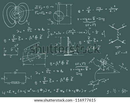 Physics diagrams and formulas chalk handwriting on green blackboard