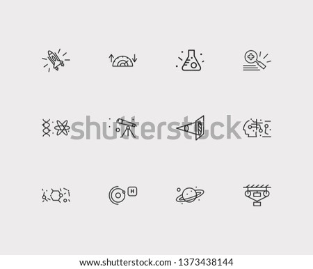 Physics icons set. Classical mechanics and physics icons with optical physics, condensed matter physics and gynaecology. Set of biotechnology for web app logo UI design.