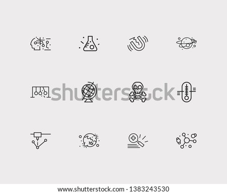 Physics icons set. Gynaecology and physics icons with magnifying glass, laser device and atomic physics. Set of accuracy for web app logo UI design.