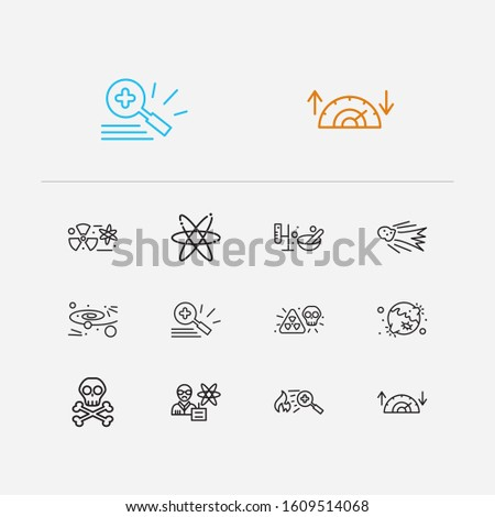 Physics icons set. Nuclear physics and physics icons with physics scientist, cosmology and electrons. Set of model for web app logo UI design.