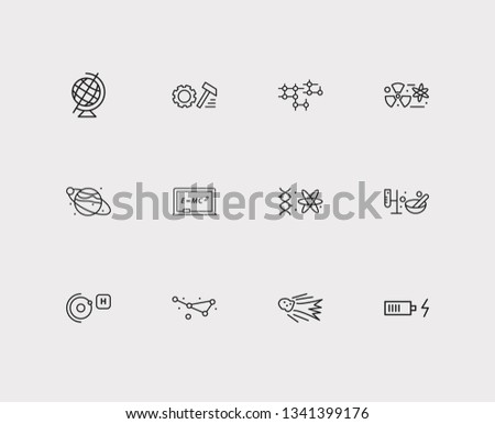 Physics icons set. Quantum physics and physics icons with constellation, equipment for experiments and physics formula. Set of biotechnology for web app logo UI design.