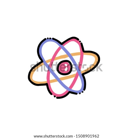physics science orbit atom. Atom structure icon in flat color outlined hand drawn childish doodle style. Color scribble print concept on white background. Kid chemistry and science.