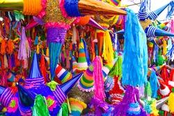 Piñatas season in a Mexican market, mercado jamaica in Mexico city