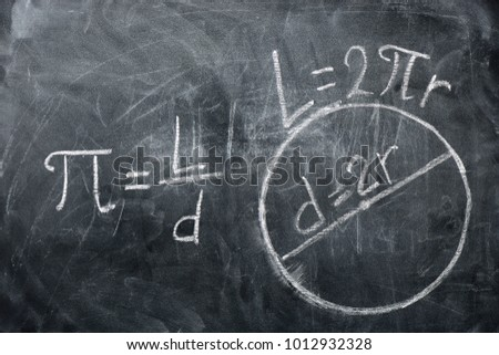 PI day concept. Drawings of circles and formula with the number PI written on a blackboard