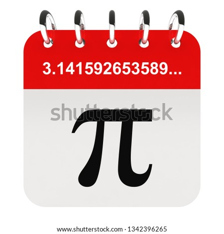 Pi day - pi symbol on calendar page 3D render