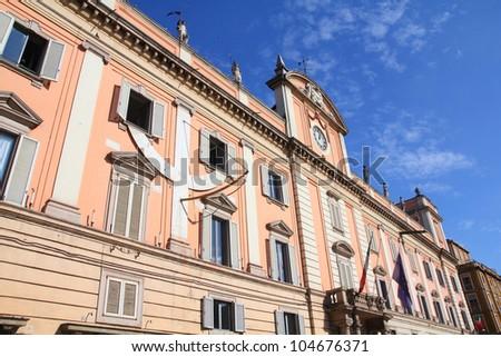 Piacenza, Italy - Emilia-Romagna region. Neoclassical building - Palazzo del Governatore. - stock photo