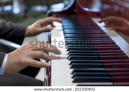 Pianist Hands Playing Classical Piano Music