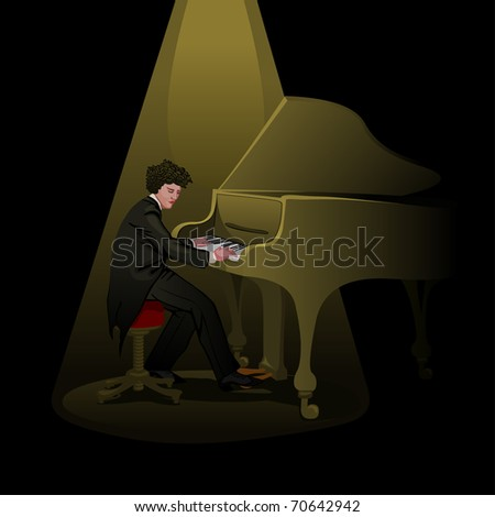 pianist performing on stage - for vector version see image no. 69572992