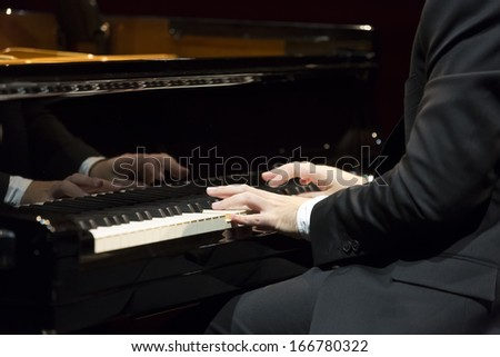 Pianist playing piano