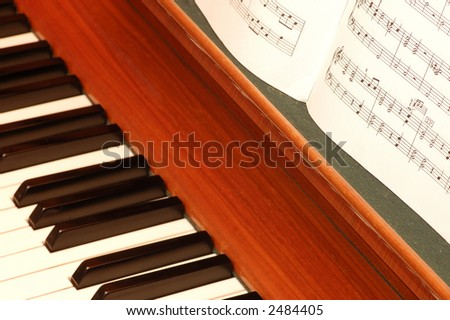 Piano and lyrics book, focus on notes