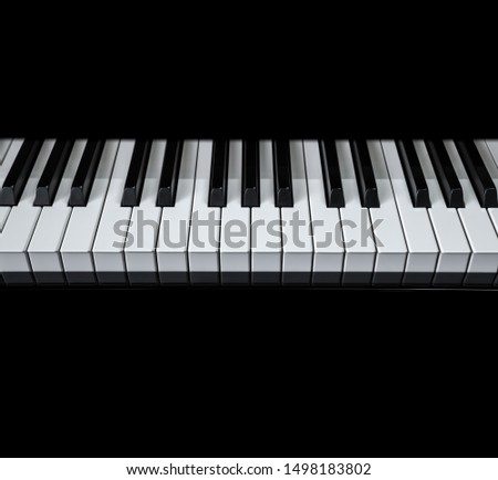 Piano and Piano keyboard with black backgrounds. #1498183802